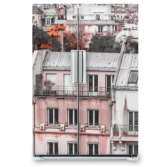 Naklejka na lodówkę - Panoramic view of architectural details of houses in Paris, France in creative retouch.