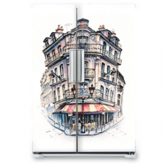 Naklejka na lodówkę - Typical Parisian house, France