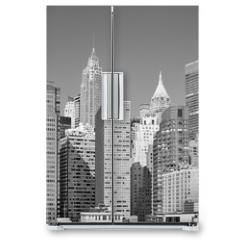 Naklejka na lodówkę - Black and white picture of New York City modern skyline, USA.
