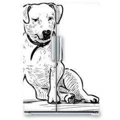 Naklejka na lodówkę - Sketch of a sitting lap dog