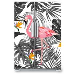 Naklejka na lodówkę - Tropical vector seamless pattern with flamingo.