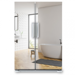 Naklejka na lodówkę - White bathroom corner, tub and sinks