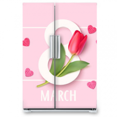 Naklejka na lodówkę - Womens Day 8 March design template. Decorative number eight with eed tulips. Vector illustration