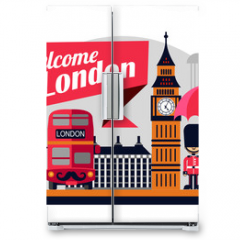 Naklejka na lodówkę - London vector flat style illustration