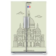 Naklejka na lodówkę - Sacre Coeur Basilica in Paris, France. Landmark icon