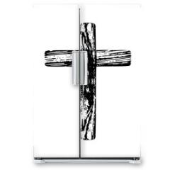 Naklejka na lodówkę - Wooden cross on a white background
