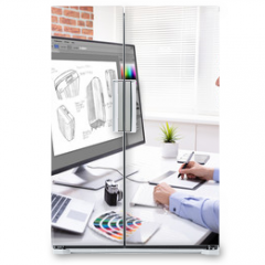 Naklejka na lodówkę - Designer Drawing Suitcase On Computer Using Graphic Tablet