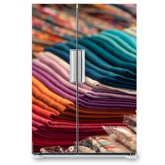 Naklejka na lodówkę - Different colors silk fabric