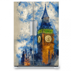 Naklejka na lodówkę - Watercolor painting of Big Ben at twilight witth lights making architecture glow in the coming darkness