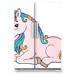 Naklejka na lodówkę - Stylized unicorn theme image 1
