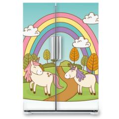 Naklejka na lodówkę - cute fairytale unicorns with rainbow in the landscape