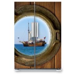 Naklejka na lodówkę - Brass Porthole