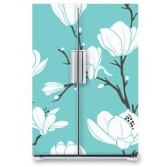 Naklejka na lodówkę - blue magnolia pattern