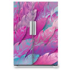 Naklejka na lodówkę - Seamless background of iridescent pink feathers, close up