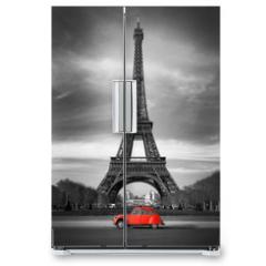 Naklejka na lodówkę - Tour Eiffel et voiture rouge- Paris