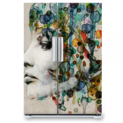 Naklejka na lodówkę - Watercolor female profile
