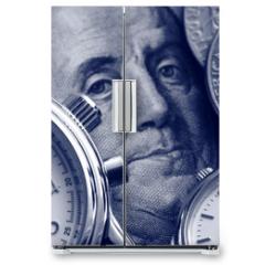 Naklejka na lodówkę - watch and portrait of Benjamin Franklin on hundred Dollar bill