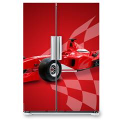 Naklejka na lodówkę - red formula one car and racing flag