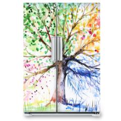 Naklejka na lodówkę - Four season tree