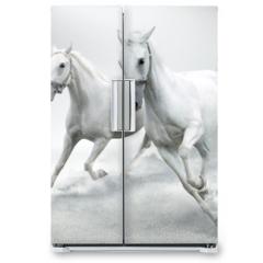 Naklejka na lodówkę - White horses