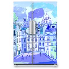 Naklejka na lodówkę - Paris in watercolor style
