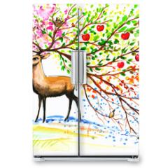 Naklejka na lodówkę - Deer-four seasons.