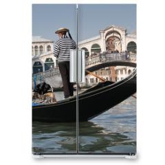 Naklejka na lodówkę - Gondolier, Rialto Bridge, Grand Canal, Venice, Italy