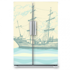 Naklejka na lodówkę - Vintage sailing boat