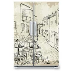 Naklejka na lodówkę - Street cafe