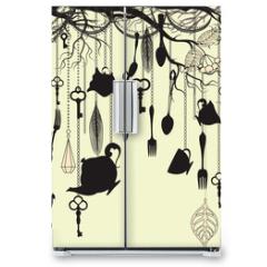 Naklejka na lodówkę - Antique background with tea party theme