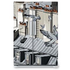 Naklejka na lodówkę - roofs in Paris