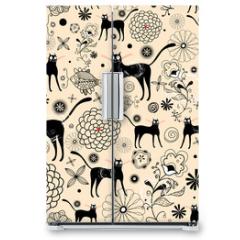 Naklejka na lodówkę - Flower texture with cats
