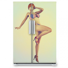 Naklejka na lodówkę - Vintage Retro Styled Pinup Illustration