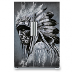 Naklejka na lodówkę - Tattoo art, portrait of american indian head over dark backgroun