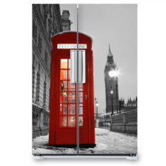 Naklejka na lodówkę - London Telephone Booth and Big Ben