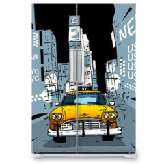 Naklejka na lodówkę - Time Square New York City Taxi