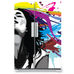 Naklejka na lodówkę - Girl with colour splash background vector