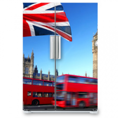 Naklejka na lodówkę - Big Ben with city bus and flag of England, London