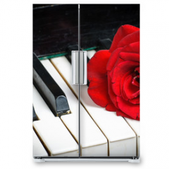 Naklejka na lodówkę - piano keyboard and rose