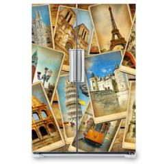 Naklejka na lodówkę - vintage travel collage background