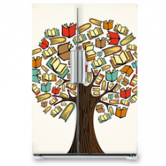 Naklejka na lodówkę - Education concept tree with books