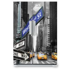 Naklejka na lodówkę - Taxis à New York.