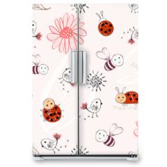 Naklejka na lodówkę - Sweet babies doodle hand draw seamless pattern.