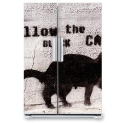 Naklejka na lodówkę - black cat graffiti