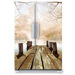 Naklejka na lodówkę - Jesienna sceneria z drewnianym molo na jeziorze