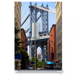Naklejka na lodówkę - Manhattan Bridge and Empire State Building, New York