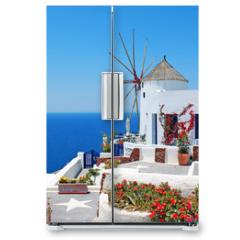 Naklejka na lodówkę - Traditional architecture of Oia village at Santorini island in G