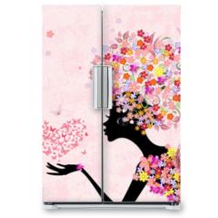 Naklejka na lodówkę - fashion flowers girl with a heart of butterflies