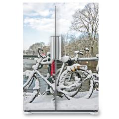 Naklejka na lodówkę - Snowy Amsterdam in the Netherlands