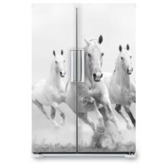 Naklejka na lodówkę - white horses in dust